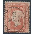 AUSTRALIA / NSW - 1862 1d scarlet Diadem, perf. 13:13, '1' watermark, used – SG # 154