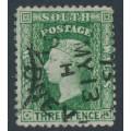 AUSTRALIA / NSW - 1872 3d dull green Diadem, perf. 13:13, '6' watermark, used – SG # 158a