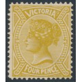 AUSTRALIA / VIC - 1901 4d bistre-yellow QV without POSTAGE, MH – SG # 379