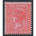 AUSTRALIA / VIC - 1895 8d bright scarlet on pink QV, V crown watermark, MNH – SG # 302