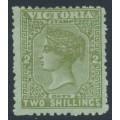 AUSTRALIA / VIC - 1890 2/- olive on green QV, V crown watermark, MH – SG # 303