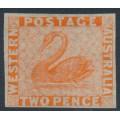 AUSTRALIA / WA - 1860 2d orange-vermilion Swan, imperforate with swan watermark, MNG – SG # 25