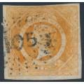AUSTRALIA / NSW - 1855 8d orange Diadem, imperf., '105' cancel (rarity = 4R) – SG # 98