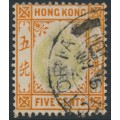 HONG KONG - 1906 5c dull green KEVII, multi crown CA watermark, used – SG # 79a