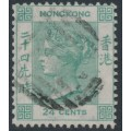 HONG KONG - 1864 24c green Queen Victoria with crown CC watermark, used – SG # 14
