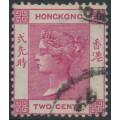 HONG KONG - 1884 2c carmine (aniline) Queen Victoria, crown CA watermark, used – SG # 33a