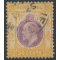 HONG KONG - 1911 30c purple/orange-yellow KEVII, multi crown CA watermark, used – SG # 97
