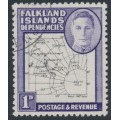 FALKLAND ISLANDS DEPENDENCIES - 1948 1d black/violet Map (thin and clear), used – SG # G10