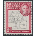 FALKLAND ISLANDS DEPENDENCIES - 1948 2d black/carmine Map (thin and clear), used – SG # G11