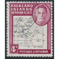 FALKLAND ISLANDS DEPENDENCIES - 1948 4d black/claret Map (thin and clear), 'dot on T', used – SG # G13a