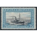 FALKLANDS IS - 1933 1½d black/blue Whale Catcher, mint hinged – SG # 129