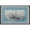 FALKLANDS IS - 1933 1½d black/blue Whale Catcher, mint hinged – SG # 129
