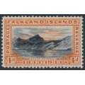 FALKLANDS IS - 1933 4d black/orange View of South Georgia, mint hinged – SG # 132