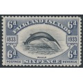 FALKLANDS IS - 1933 6d black/slate Fin Whale, mint hinged – SG # 133