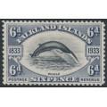FALKLANDS IS - 1933 6d black/slate Fin Whale, mint hinged – SG # 133