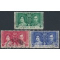 HONG KONG - 1937 King George VI Coronation set of 3, used – SG # 137-139