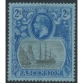 ASCENSION IS - 1924 2/- grey-black/blue on blue Sailing Ship KGV definitive, MH – SG # 19