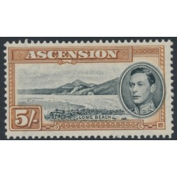 ASCENSION IS - 1944 5/- black/yellow-brown Long Beach KGVI definitive, perf. 13, MH – SG # 46a