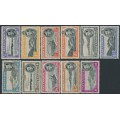 ASCENSION IS - 1942-1944 ½d to 10/- KGVI Views of the Island definitives, perf. 13, MH – SG # ex. 38b-47c