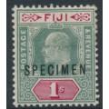 FIJI - 1903 1/- green/carmine KEVII, crown CA watermark, o/p SPECIMEN, MH – SG # 112s