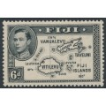 FIJI - 1940 6d black Map of the Islands KGVI definitive, die II, perf. 13½, MNH – SG # 261
