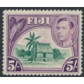 FIJI - 1938 5/- green/purple Chief's Hut KGVI definitive, MNH – SG # 266