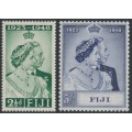 FIJI - 1948 2½d green & 5/- violet-blue Royal Silver Wedding Anniversary set of 2, MNH – SG # 270-271