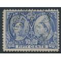 CANADA - 1897 50c pale ultramarine Queen Victoria Jubilee, used – SG # 134