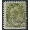 CANADA - 1900 20c olive-green Queen Victoria (numerals in lower corners), used – SG # 165