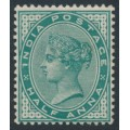INDIA - 1882 ½a blue-green Queen Victoria, single star watermark, mint hinged – SG # 85