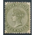 INDIA - 1885 4a olive-green Queen Victoria, single star watermark, mint hinged – SG # 95