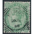 INDIA - 1886 4a6p yellow-green Queen Victoria, single star watermark, used – SG # 97