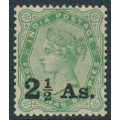 INDIA - 1891 2½As. on 4½a yellow-green Queen Victoria, single star watermark, MNH – SG # 102