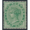 INDIA - 1900 ½a yellow-green Queen Victoria, single star watermark, mint hinged – SG # 114