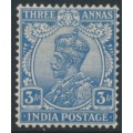 INDIA - 1926 3a ultramarine King George V, multi star watermark, mint hinged – SG # 208
