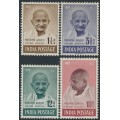 INDIA - 1948 1½a to 10R Mahatma Gandhi set of 4, mint hinged – SG # 305-308