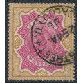 INDIA - 1895 2R carmine/yellow-brown Queen Victoria, single star watermark, used – SG # 107