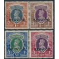INDIA - 1938-1939 1R to 10R large KGVI Definitives overprinted SERVICE, mint hinged – SG # O138-O141