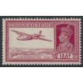 INDIA - 1941 12a lake KGVI Armstrong Whitworth airmail, mint hinged – SG # 276