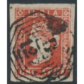 INDIA - 1855 1a deep red QV, used – has a B12 Burmese cancel = Bassein, Burma – SG # 11