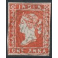 INDIA - 1855 1a deep red QV, used – has a B5 Burmese cancel = Akyab, Burma – SG # 11
