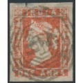 INDIA - 1855 1a red QV, used – has a B5 Burmese cancel = Akyab, Burma – SG # 12