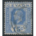 CEYLON - 1922 15c ultramarine King George V definitive, multi script CA watermark, used – SG # 348