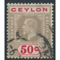 CEYLON - 1932 50c black/scarlet King George V definitive, die I, multi script CA watermark, used – SG # 353a
