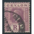 CEYLON - 1925 1R purple on pale yellow King George V definitive, die II, multi script CA watermark, used – SG # 354a