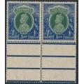 INDIA - 1937 5R green/blue KGV, multi star watermark, horizontal pair, MNH – SG # 261