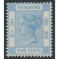 HONG KONG - 1882 5c pale blue Queen Victoria, crown CA watermark, MNG – SG # 35