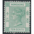 HONG KONG - 1884 10c green Queen Victoria, crown CA watermark, MNG – SG # 37
