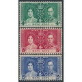 HONG KONG - 1937 King George VI Coronation set of 3, MH – SG # 137-139