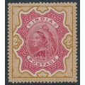 INDIA - 1895 2R carmine/yellow-brown Queen Victoria, single star watermark, MH – SG # 107
